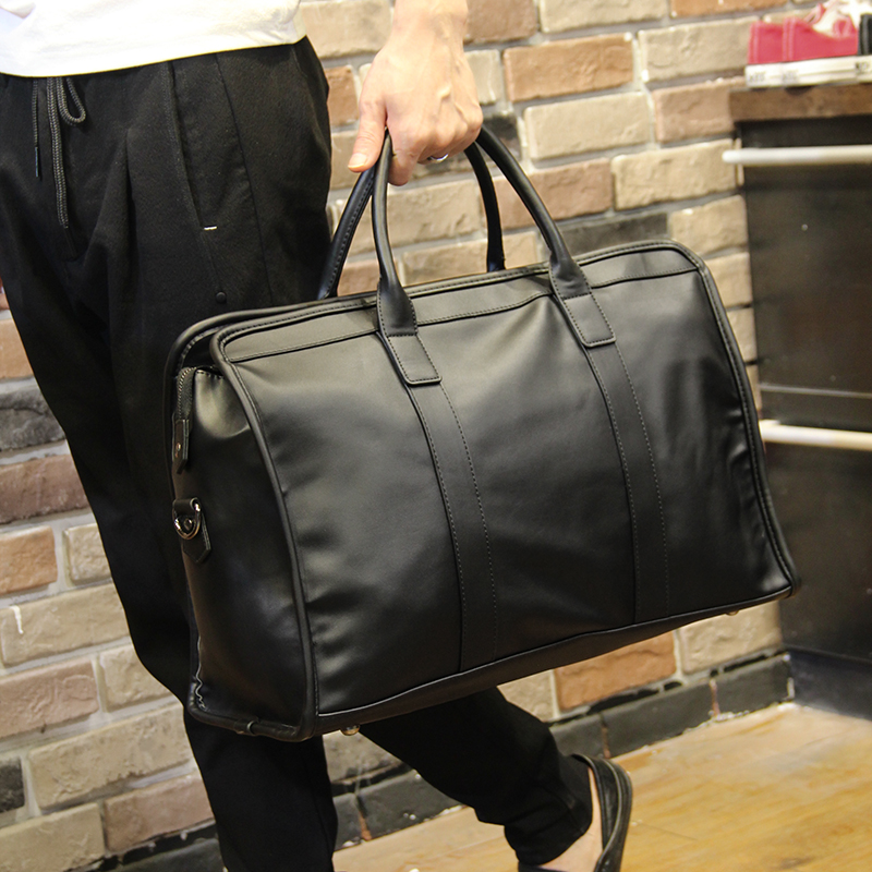 Image 3 - Men Business Bags Totes Superior Quality PU Leather Large Capacity 15 inch Laptop Bags Single Shoulder Bags Travel Duffle Bags-in Top-Handle Bags from Luggage & Bags
