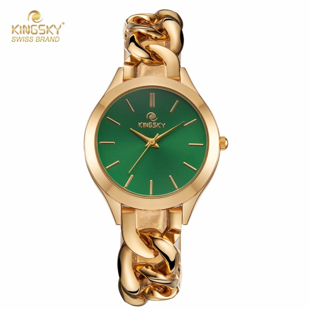 Prix pour Top Marque KINGSKY Femmes Montres Petite Dame Montre-Bracelet De Mode Or Boîtier Rond Vert Cadran Japon Mouvement Quartz Horloge