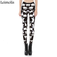 Leimolis adventure time punk rock Harajuku black milk push up fitness sexy gothic 3d print Lovely cat dream women leggings