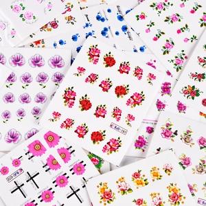 Image 4 - 55pcs New Latest Nail Art Glitter Tips Flower Designs with Gold Powder  Nail Art Sticker Decals Watermark DIY Manicure TRBJC55