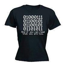 0100 mujeres binarias camiseta código Geek Tecnología Informática lema  divertido regalo T 123 T algodón camiseta para mujer Hara. 51ce394d90c