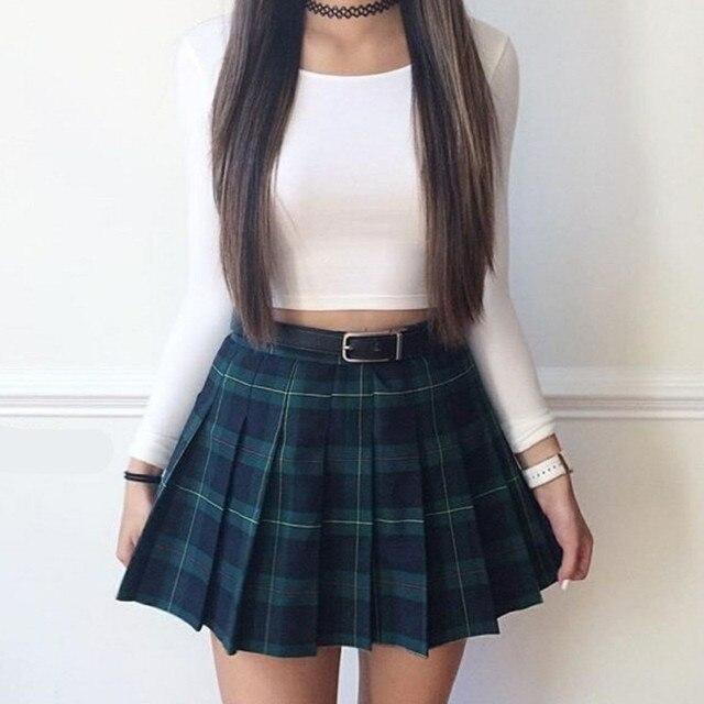 variedad de estilos de 2019 calidad real adecuado para hombres/mujeres Falda plisada falda escocesa 2018 nueva de moda verano mujer alta cintura  Universidad viento salvaje
