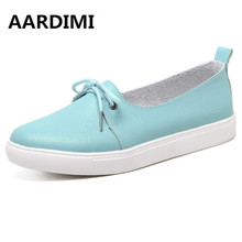 New arrival spring lovely solid women shoes genuine leather women flats shoes 4 colors single boat shoes woman causal loafers