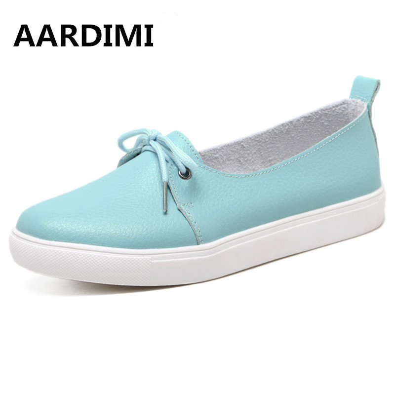 New Arrival Spring Lovely Solid Women Shoes Genuine Leather Women Flats Shoes 4 Colors Single Boat