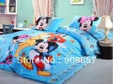 Azul de dibujos animados de mickey y minnie edredón impresiones full twin queen sz cubre sistema del lecho del algodón muchachos de los niños niñas ropa de cama 3 unid 4 unid