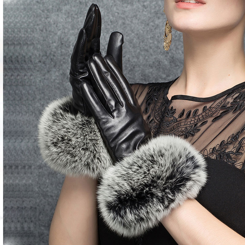 Luxury Leather Gloves With Real Fox Fur Womens Fashion 2019 Winter Red Hand Warm Black Glove Women Driving Matural Fur Gloves