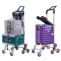 Upgrade Portable Household Shopping Cart with Cover (Can sit) and Cup Holder, Utility Foldable Trolley