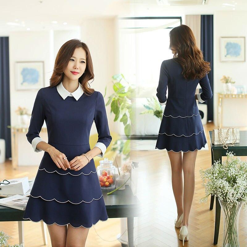 Women Dress Fall 2015 Turn Down Collar Women Dress Cheap Plus Size