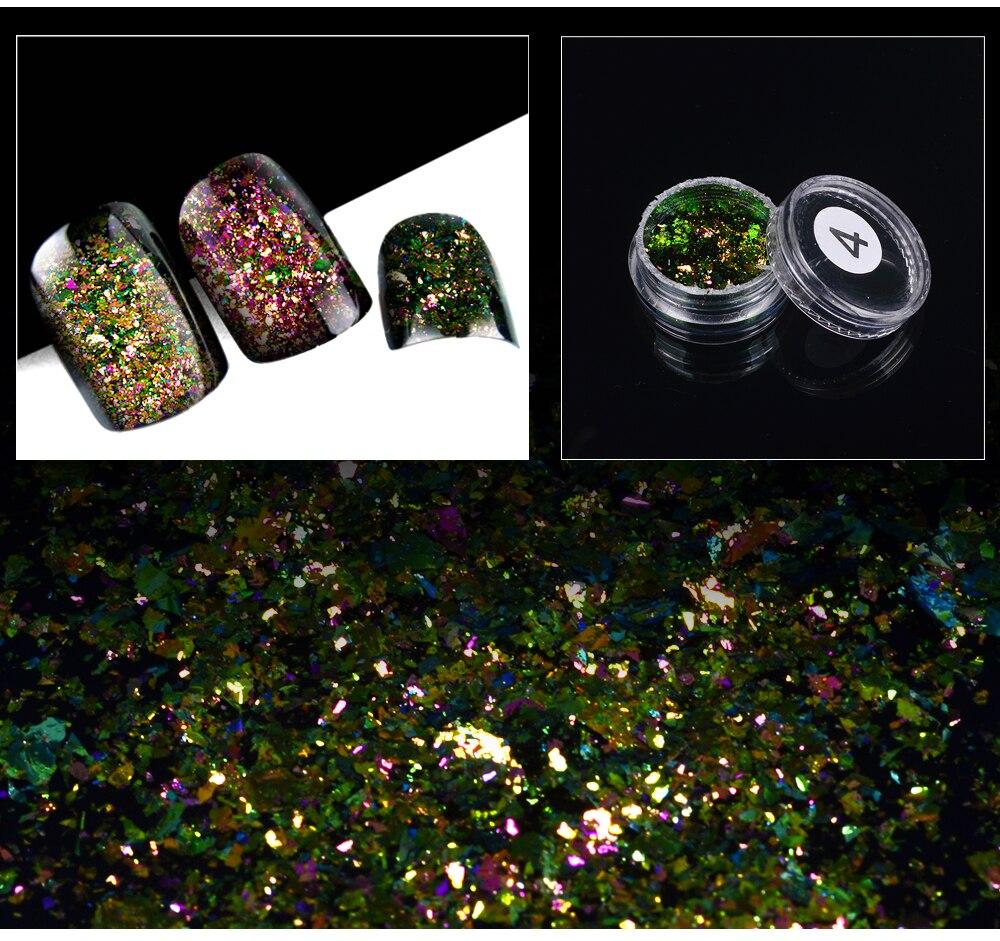 ZKO,, 1 коробка, хамелеон, блестки для ногтей, голографическая пудра, пыль, ослепительные ногти, дизайн ногтей, блестящие украшения