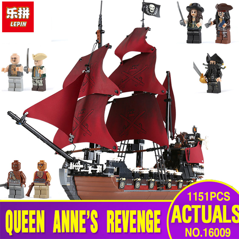 LEPIN 16009 the Queen Anne's revenge Pirates of the Caribbean Building Blocks Set Compatible with legoing 4195 for chidren gift new lepin 16009 1151pcs queen anne s revenge pirates of the caribbean building blocks set compatible legoed with 4195 children