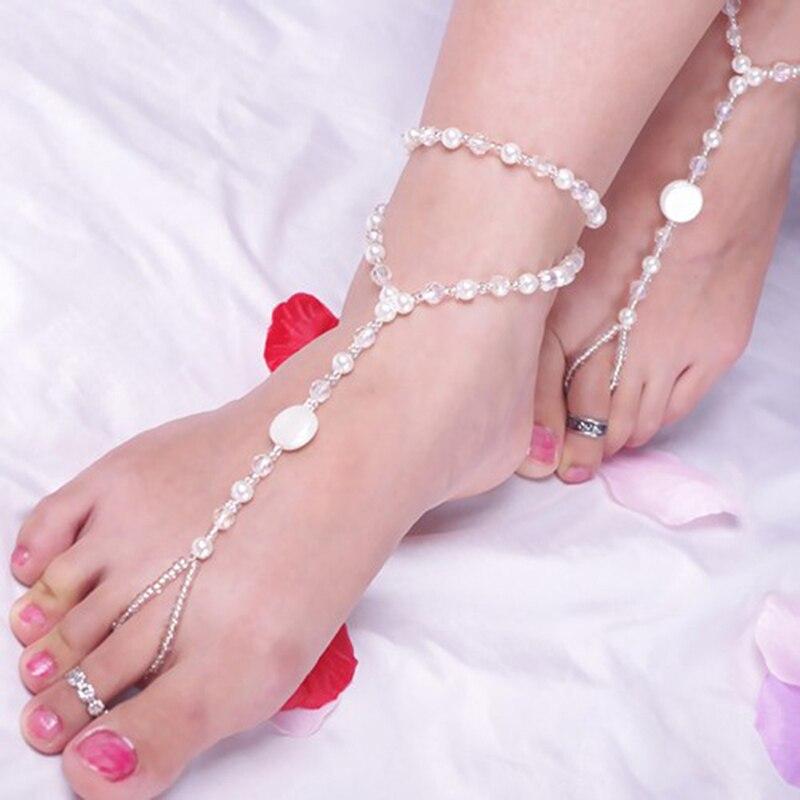 1pc Barefoot Sandals Imitation Sandal Jewelry Pearl Multi