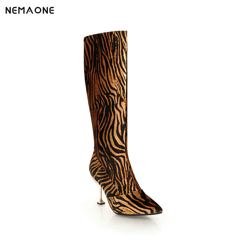 NEMAONE New women high heels knee high boots sexy leopard ladies boots spring autumn party dress shoes woman large size 42 43 купить недорого в Москве