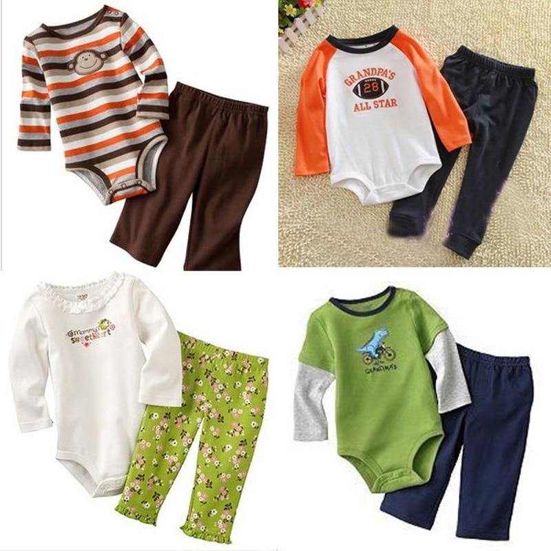 2016 Winter Baby Boy Romper Newborn Baby Clothes Longsleeved Rompers+Pants Baby Girl Clothing Cute Toddlers Sets Clothing Bebe baby boy girl clothes romper pants