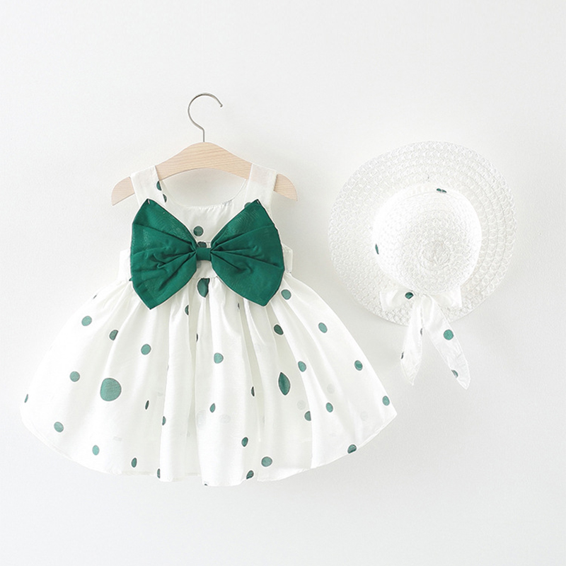 Cute Dot Summer Baby Dress Big Bow Sleeveless Princess Baby Girl Dress with Hat A-Line Cotton Infant Dresses Baby Girl Clothes вытяжка hansa okc 6111 zh