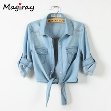 Magiray Harajuku Bow Tie Knot Front Denim Blouse Women 2019 Summer Crop Top Female Korean Casual Shirt Jeans Half Sleeve C352 knot front spot crop top