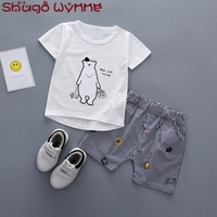 Summer Baby S Sets Cotton Short Sleeve Cute Bear T Shirts Striped Print Shorts Kids Infant