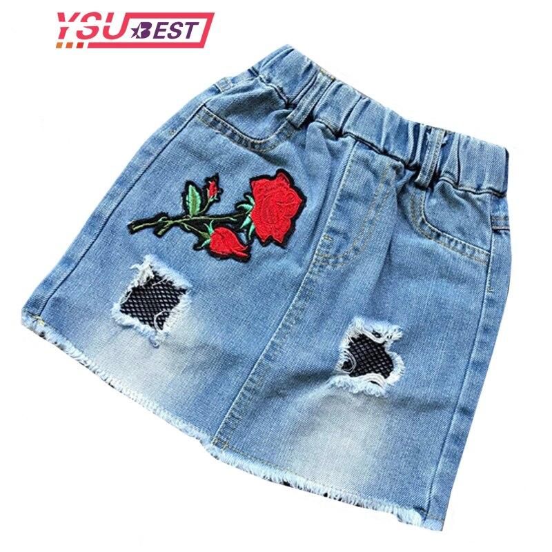 Baby Girls Casual Denim Skirts Girl Mini Cute Rose Embroidery Skirt Kids All-match Jean Skirts Summer Toddler Girls Clothing