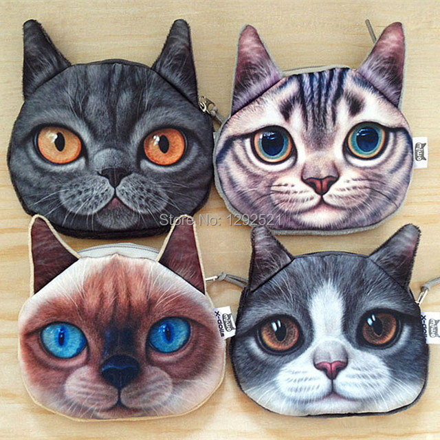 New Kids Purse Cute Cat Face Zipper Case Fashion Coin Purse Wallet Makeup Buggy Bag Pouch Women and Men's Wallet Creative Cat