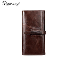 Luxury Brand Genuine Cowhide Leather Men Wallet High Quality Men Long Wallet Coin Purse Vintage Designer