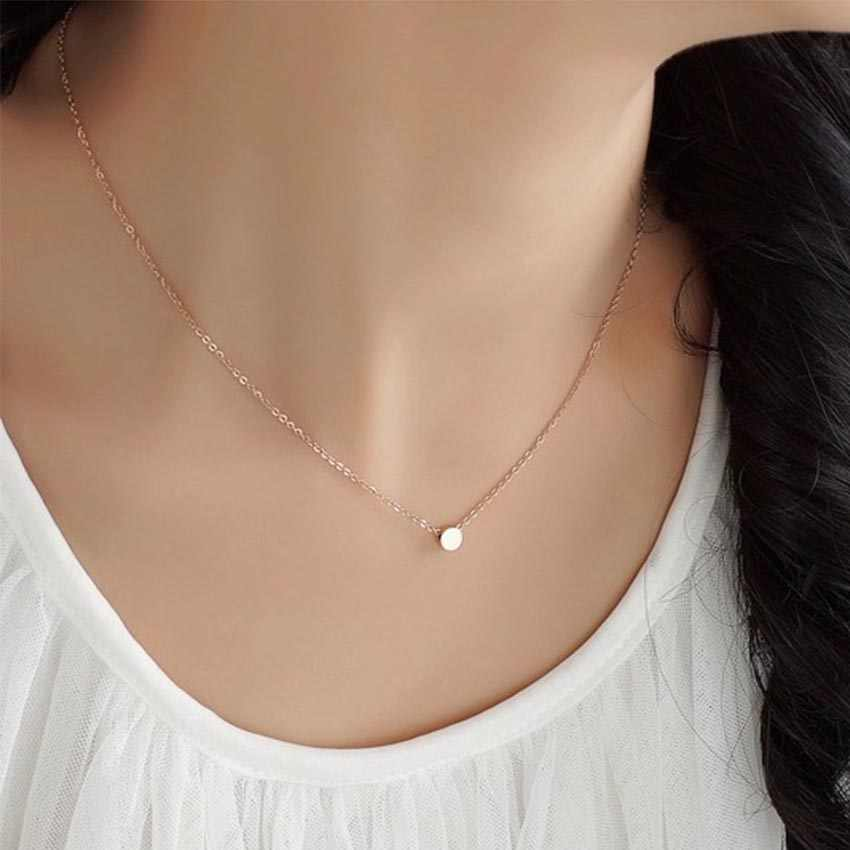 2017 Women chocker Silver gold Chain round coin choker Necklace Jewelry collana Kolye Bijoux Collares Mujer Collier Femme joyas