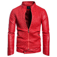 AOWOFS Quilting Leather Jackets Men 2018 Autumn Fashion Motorcycle Jacket Men Red Designer Leather Coat Plus Size European Style