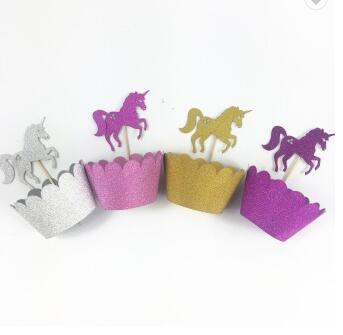 Party Favors Unicorn Design Gold Glitter Cake Decorations Unicorn Cupcake Wrapper Unicorn Cupcake Topper Set
