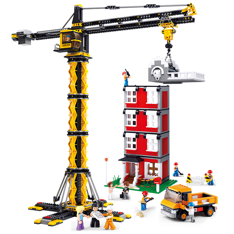 SLUBAN 0555 City Heavy Tower Cranes Figure Blocks Educational Construction Building Bricks Toys For Children Compatible Legoe waz compatible legoe city lepin 2017 02022 1080pcs city 50th anniversary town figure building blocks bricks toys for children