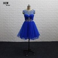 Bleu Royal Courtes Robes De Bal 2018 Coloré Strass Illusion Retour une Ligne Genou Longueur Sexy Partie Robe Arabe Robes De Bal pas cher