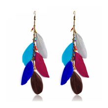 Vintage Ethnic Bohemia Hanging Dangle Drop Earrings for Women Geometric Feather Long Ladies Jewelry