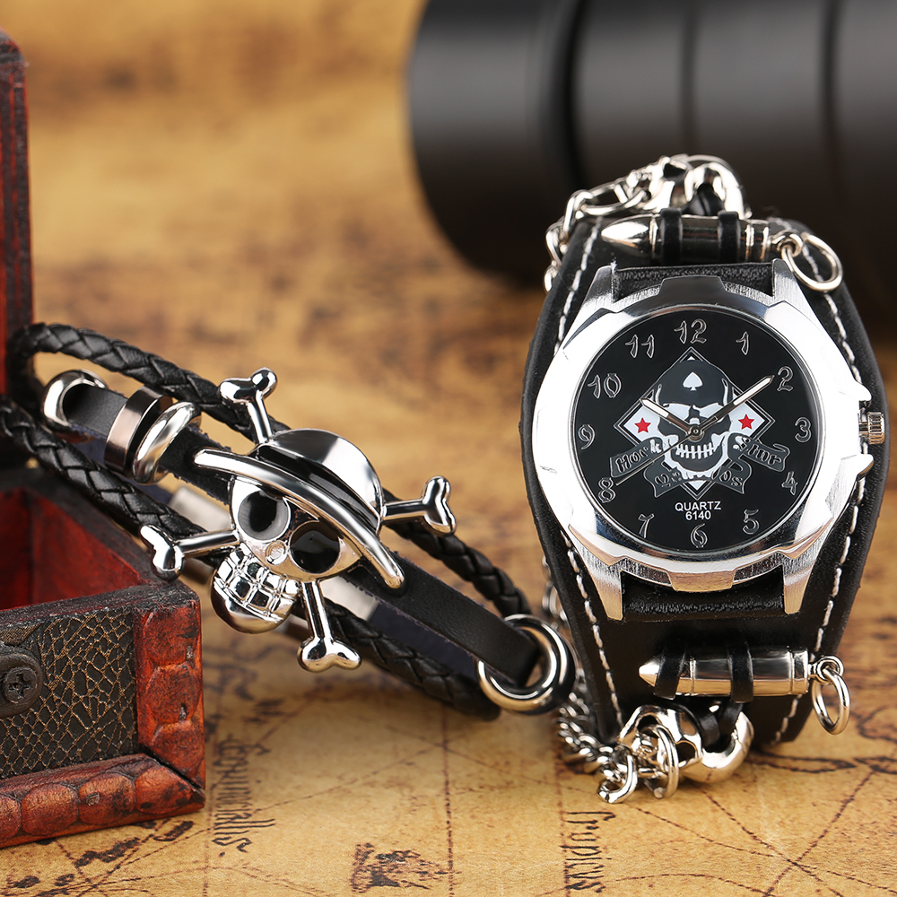 Gothic Style Rock Wrist Watch Sport Bullet Chain Skull Quartz Watches Cool Mens Leather Band Strap With Steampunk Bracelet Gift