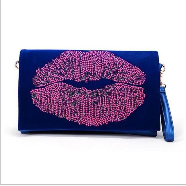 QIAODUO Brand Female Package Wholesale Handbag Diamond-set Kiss Lips Day Clutches Multifunction Handbag Shoulder Messenger Bag