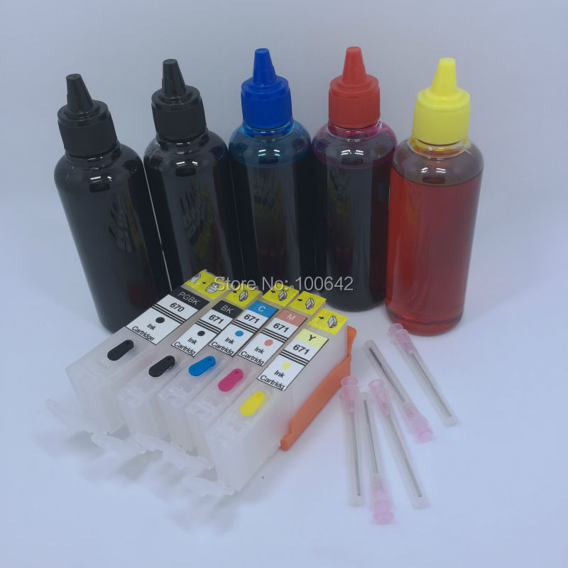 Refillable ink cartridge PGI-670XL CLI-671XL PGI-670 CLI-671 for Canon PIXMA MG5760 MG6860 TS6060 TS5060 + 5 color*100ml Dye ink 5pcs pgi425 cli426 refillable ink cartridge 500ml dye ink for canon pixma mg5240 mg5140 ip4840 ix6540 ip4940 mg5340 mx894 714