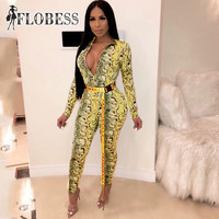 2019 Women Spring Sexy V Neck Jumpsuits Fashion Snake Skin Print Club Tights Bodysuits Femme Bodycon Playsuit Rompers