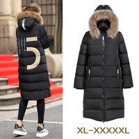 Зима 2016 большие размеры 5XL женские средние длинное пальто мм более колено с большим меховым воротником утепленная верхняя одежда более 100 кг