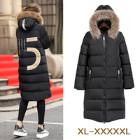 Winter 2016 plus size 5XL female medium long down coat mm over the knee large fur collar thickening outerwear over 100kg