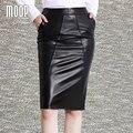 Estilo OL faldas de las mujeres negro rojo de cuero genuino delgado dividida falda lápiz faldas jupe saia falda LT601 etek 100% de piel de cordero