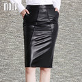OL style black red genuine leather skirts women slim split pencil skirt faldas jupe saia etek 100% lambskin skirt  LT601