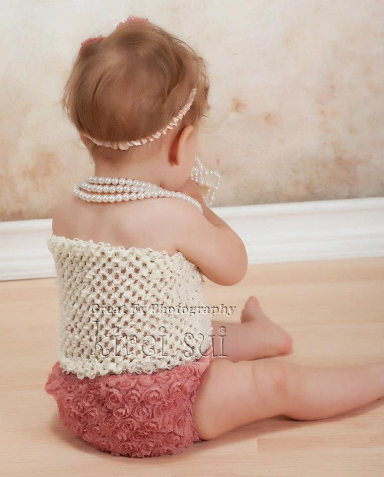 3 Pcs Set Baby Girls Cream Crochet Tube Top Rea Rose Rosettes