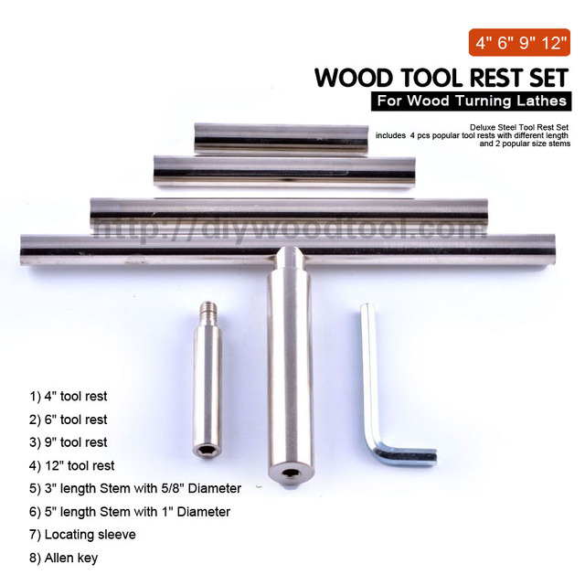 """Round Bar Tool Rest For Wood Turning Lathes 12"""" Long With 5/8"""" Tool Rest Holder Steel Shank Chrome Plated Steel Material"""