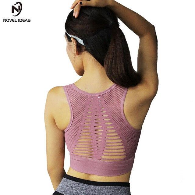 1296bb2a06 Sexy Sports Bra Top Fitness Bras Women Strappy Brassiere Sports Top Vest Gym  Padded Yoga Bras Push up Running Underwear
