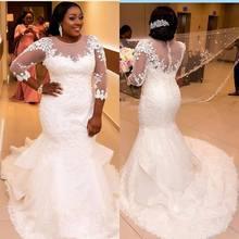 Spitze Tüll Meerjungfrau Plus Size Modest Brautkleider 3/4 Ärmeln Rüschen Couture Maßgeschneiderte Dubai Brautkleider Tasten Zurück