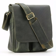 Новое поступление, мужская Сумка TIDING из натуральной кожи в винтажном стиле, маленькая сумка через плечо, сумка через плечо, сумка на каждый день, зеленая 10289