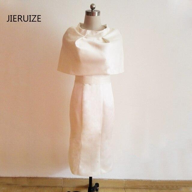 JIERUIZE Weiß Tee Länge Abendkleider Mit Cape Zurück Schlitz Mutter ...