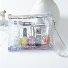 Transparent Cosmetic Bag Women Make Up Travel Storage Ladies PVC Sequins Pouch Hand Wash Beauty Case Organizer Toiletry Bags