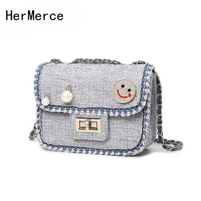 HerMerce Bag Handbags Famous Brands Luxury Handbags Women Messenger Bags  Designer Wool Diamonds Pearl Flap Female 7252bb81c1