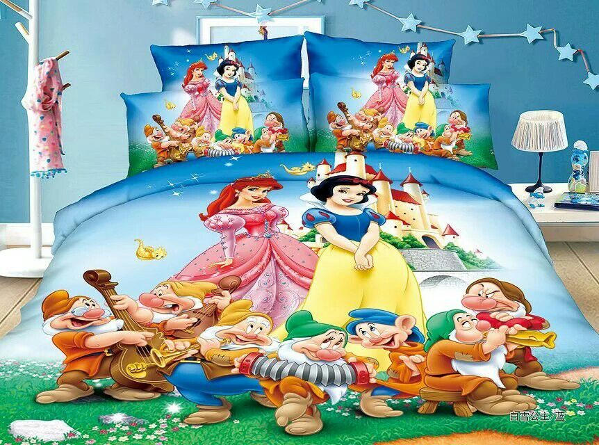 Snow White Princess bedding set Childrens Baby Girl bedroom decor single twin size bed sheets quilt duvet covers 3pc Blue ColorSnow White Princess bedding set Childrens Baby Girl bedroom decor single twin size bed sheets quilt duvet covers 3pc Blue Color