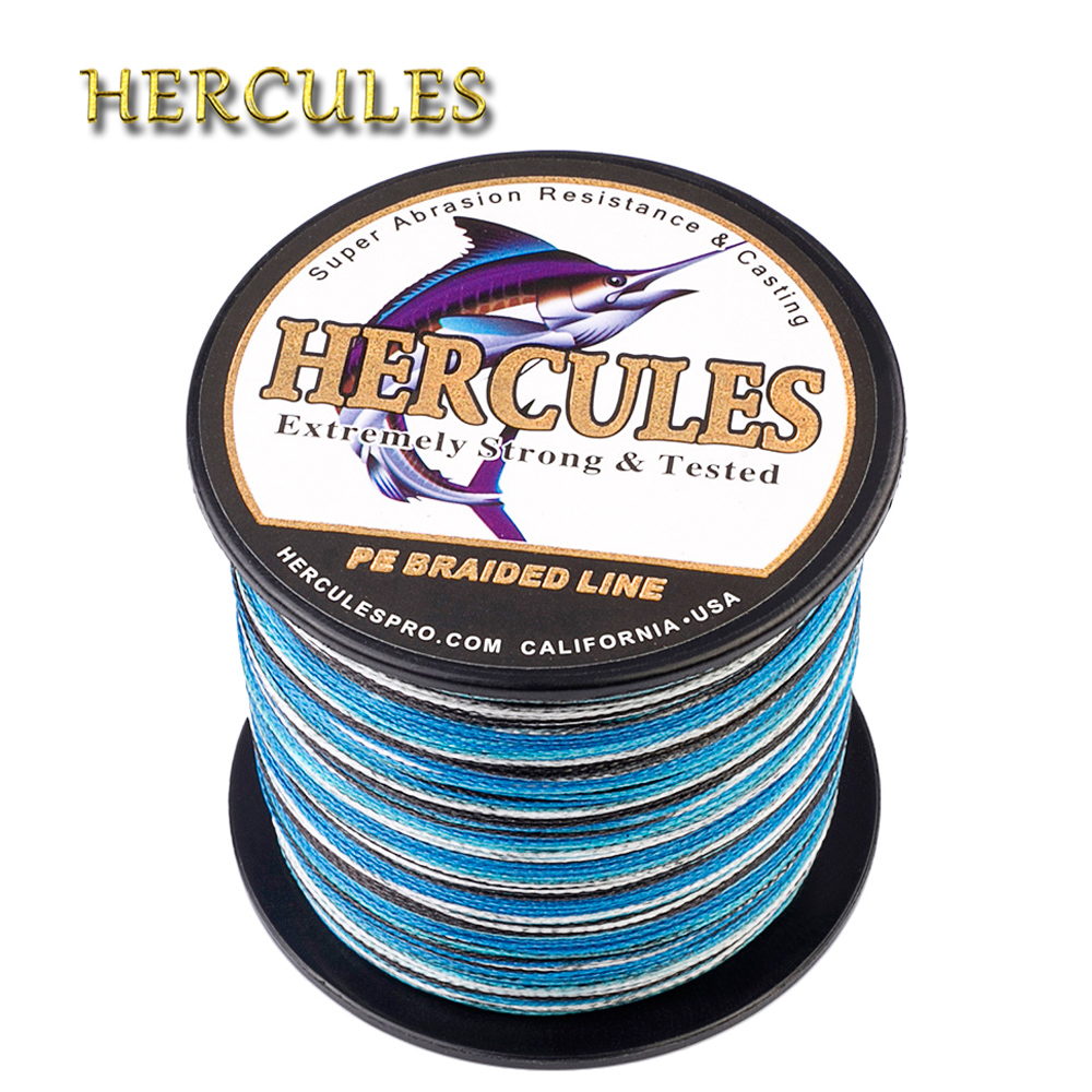 Hercules Fishing Line Camo Blue 4 Strands 100M 300M 500M 1000M 1500M 2000M PE Braided Fishing Line 6-100LB Pesca Wire Weave Cord