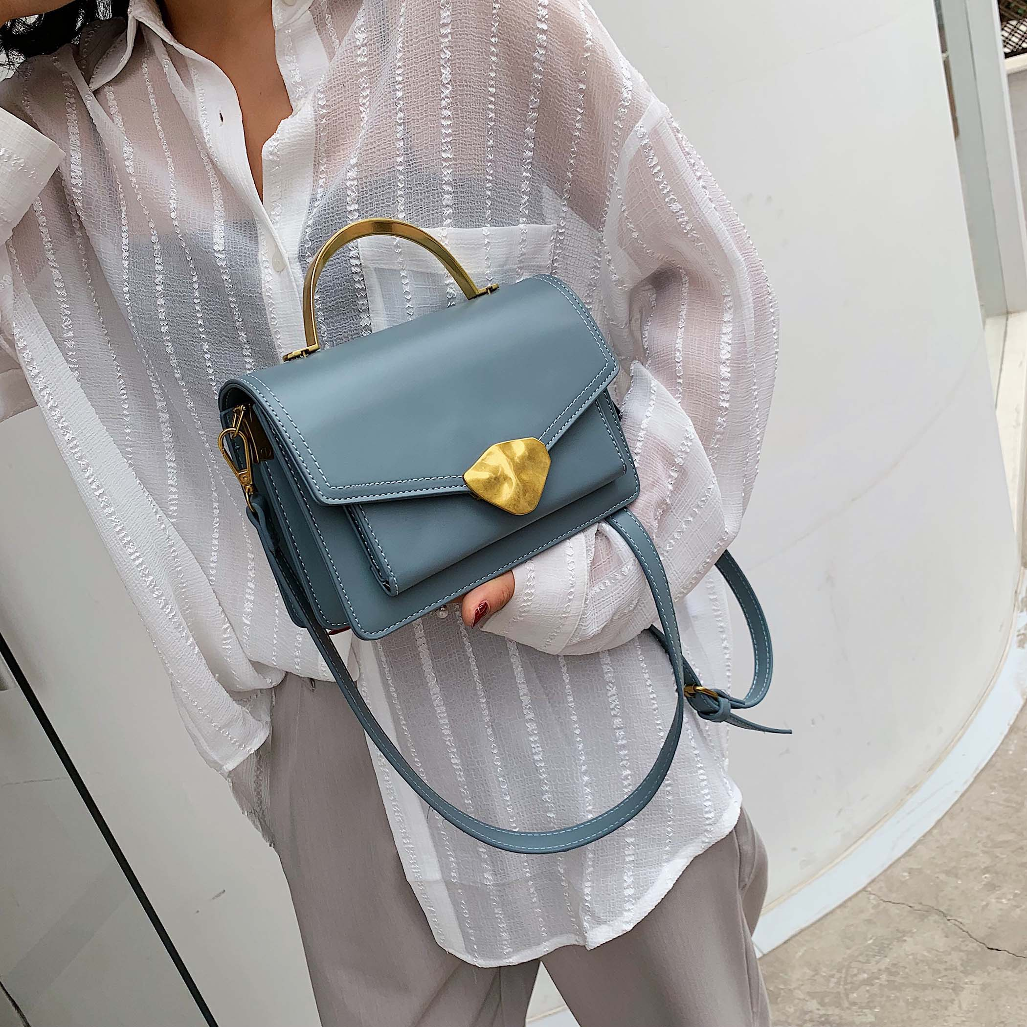Image 2 - Simply Style PU Leather Crossbody Bags For Women Shoulder Messenger Bag Handbag Mini Tote Hand Bag With Metal Handle-in Shoulder Bags from Luggage & Bags
