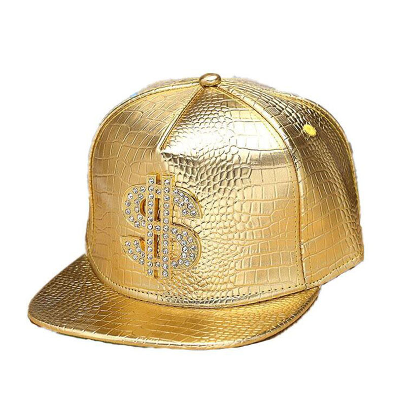 Faux Leather Baseball Caps Guld Dollar $ Logo med Bling Hiphop Gorras Snapback Hat Justerbar Fashion Cool Casquette För Unisex
