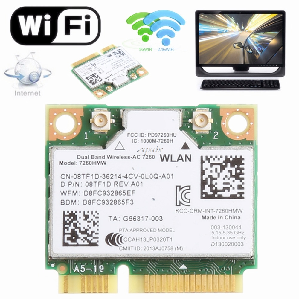 876M Dual Band 2.4+5G Bluetooth V4.0 Wifi Wireless Mini PCI-Express Card For Intel 7260 AC For DELL 7260HMW CN-08TF1D 300mbps desktop dual band wireless n ar5bwb222 wifi bt 4 0 bluetooth 802 11 a b g n pci express 1x 4x 16x adapter fenvi fv8303